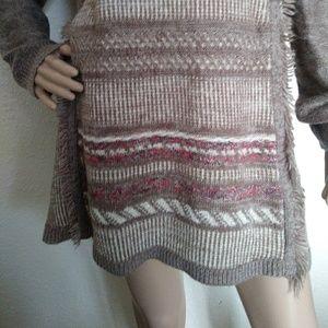 Knox Rose Sweaters - Know Rose Boho Fringe Cowl Neck Sweater